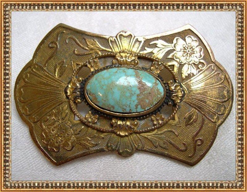 Vintage Unsgd Bliss1900 Gold Gilt Sash Pin Ornament Turquoise Cab