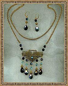 Necklace Earring Set Iridescent Blue Aqua Glass Beads