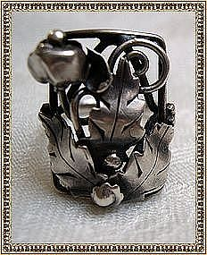 Vintage Unmarked Sterling Silver Arts Crafts Ring Hand