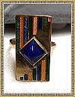 Vintage Art Deco Ring with Cobalt Blue Green Yellow
