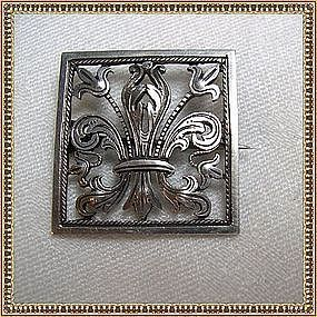 Antique 800 Silver Pin Brooch Tube Hinge C Catch Cut Work Fleur