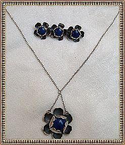 Mystery Mark Reward Vintage Signed Arts Crafts Silver Necklace Set