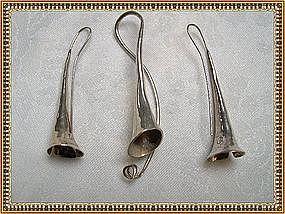 Vintage Signed Sterling Trumpet Pendant Earrings