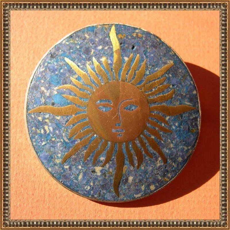 Vintage Mexico Sterling Mixed Metals Lapis Sun Face