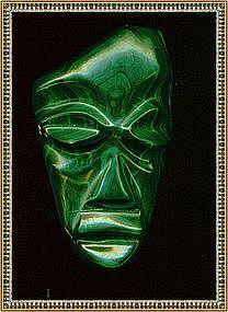 Mexico Massive Malachite Carved Mask Face Pendant