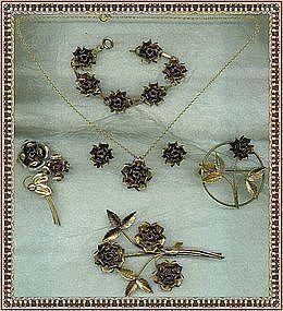 Vintage Gold on Sterling 6 Pc Rose Necklace Bracelet