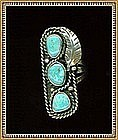 Vintage Native American Turquoise Sterling Ring Teepee Reward Mark