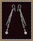 Unmarked Sterling Silver Earrings Rose Quartz Swarovski