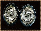 Vintage Antique Bold Victorian 2 pc Cape Coat Buckle Egyptian Revival