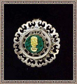Vintage Sterling & 18K Gold Face on Malachite Pin Pendant