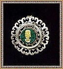Vintage Sterling & 18K Gold Face on Malachite Pin Pendant