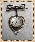 Vintage Sterling Gold Wash Bow Watch Pin Still Ticking