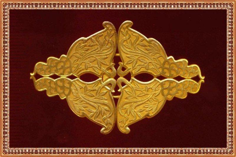 Antique E A Bliss Co Art Nouveau Gold Gilt 2 Pc Buckle