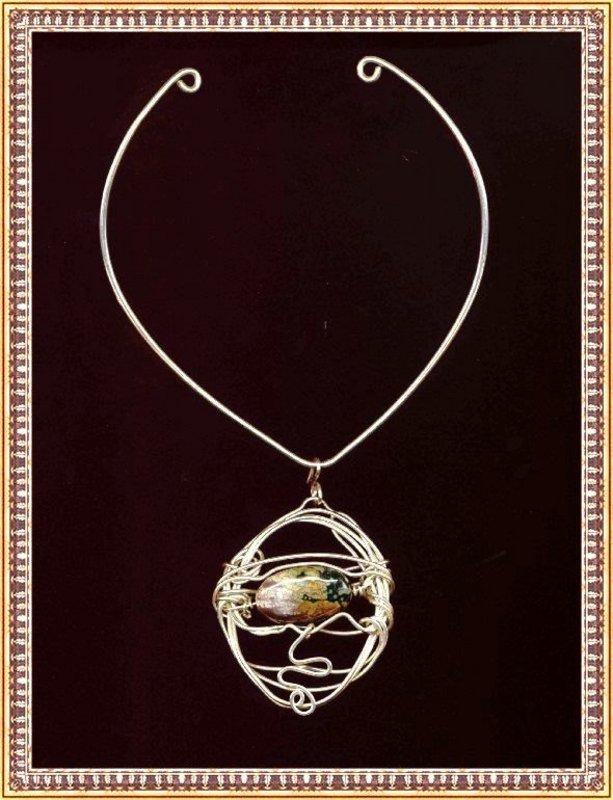 Signed Studio Sterling Silver Sculpture Necklace Jasper