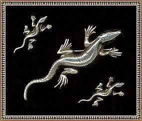 Vintage Sterling Silver Gekko Lizard  Pin  Earring Set