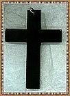 Black Bakelite Cross Pendant Plain Spartan Austere