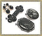 Each or 4 Vintage Mourning Victorian Black Glass Pin Ear Grapes