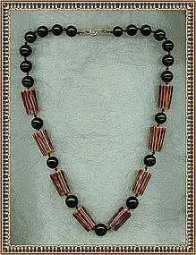"Vintage Deco Necklace ""Bone"" Bakelite Black Beads"