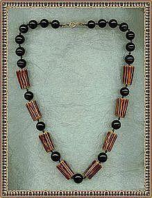 "Vintage Deco Necklace ""Bone"" Bakelite Black Beads"