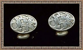 Victorian Art Nouveau Sterling Silver Cufflinks Cuff