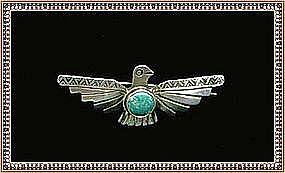 Vintage Early Silver Native American Pin Bird Turquoise