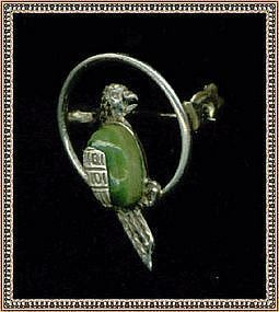 "Vintage Hecho en Mexico Sterling Bird Parrot Pin ""JV"""