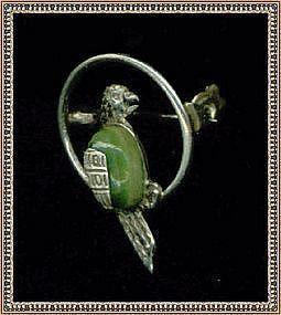 "Vintage Hecho en Mexico Sterling Bird Parrot Pin ""JV"""