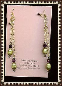 Double Chain Earrings Kiwi Pearl Amethyst Swarovski