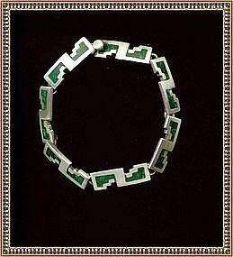 Mexican Sterling Silver Bracelet Green Inlay Mosaic TM