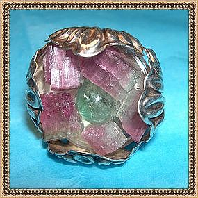Frank M Whiting Sterling Silver Ring Tourmaline Huge!