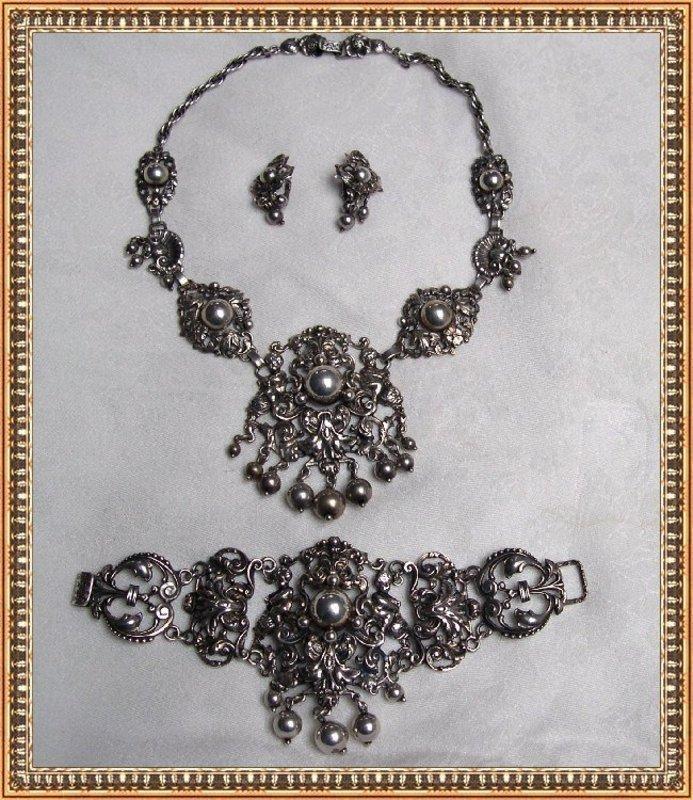 Vintage G. Cini Sterling Silver Necklace Bracelet Demi