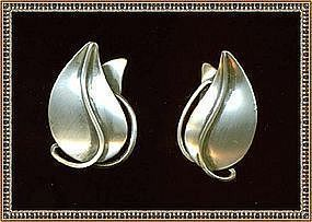 Vintage Modernist O Bade Orb Sterling Silver Earrings
