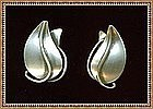 Vintage Modernist Otto R Bade Orb Sterling Silver Earrings