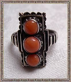 Auction Vintage Art Deco AC Coral Cabs Silver Ring HP Box