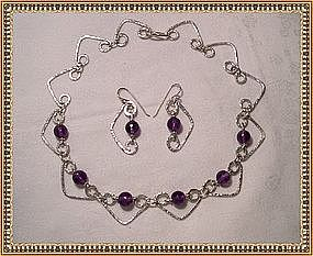Artist Signed Studio Sterling Choker Demi Set Amethyst