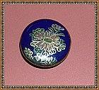 Japanese Satsuma Button Cobalt Blue Pink Peony