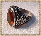 Vintage Unsigned Sterling Ring Art Nouveau Motif Citrine Glass