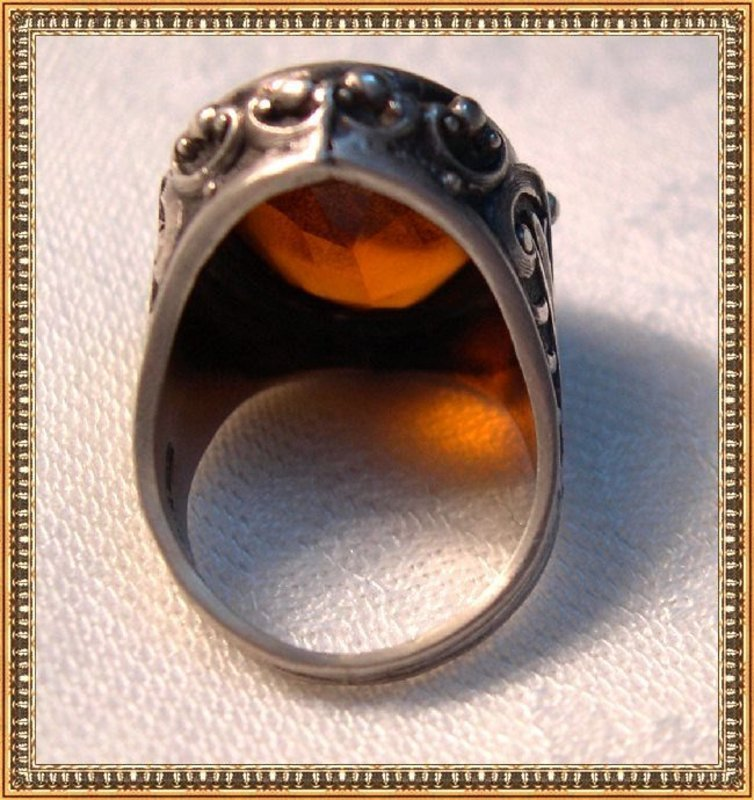 Vintage Unsigned Sterling Ring Art Nouveau Motif Citrine Glass