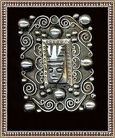 Vintage Mexican Sterling Silver Pin Idol Face Tobias