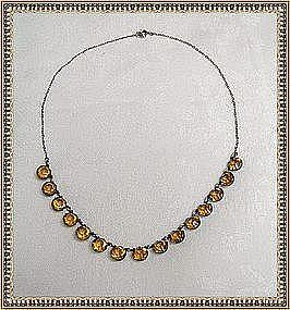 Vintage Sterling Deco Necklace Citrine Glass Stones