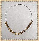 Vintage Sterling Deco Necklace Citrine Glass Stones