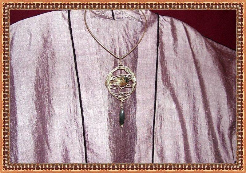 Lavender Plum Silk Long Vest Designer Signed