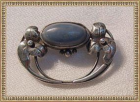 "Art Nouveau Arts Crafts Silver Pin Brooch Blue Cab ""C"""
