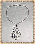 Signed Sterling Silver Sculpture Gems Heart Necklace