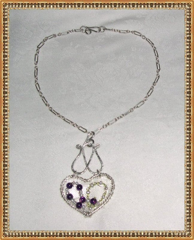 Signed Sterling Silver Sculpture Gems Heart Necklace