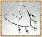 Vintage Signed CSN Sterling Necklace Bib Drops Green Cabs Israel