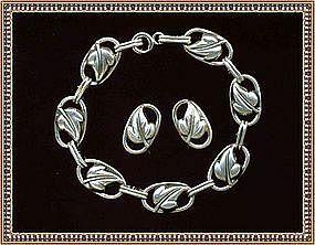 Vintage Sterling Silver Danecraft Bracelet Earring Set