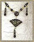 Vintage K24 Japanese Metalwork Damascene Fan Necklace