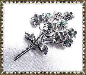 Vintage Mexican Pin Sterling Silver Turquoise Floral Assay 22