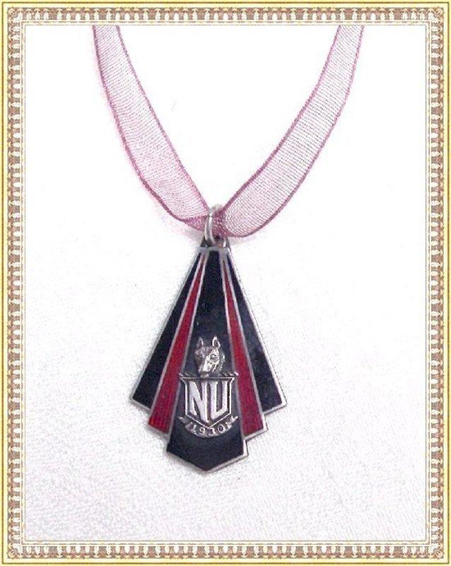 Vintage Sterling Deco Enamel Pendant  N U School Emblem